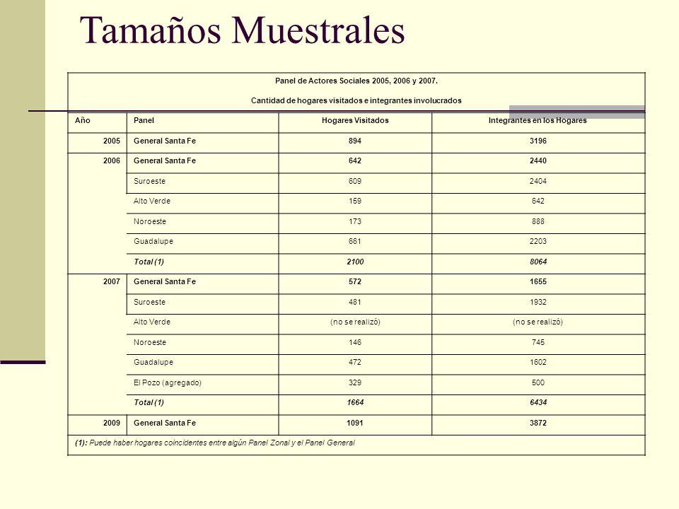 Tamaños Muestrales Panel de Actores Sociales 2005, 2006 y 2007.