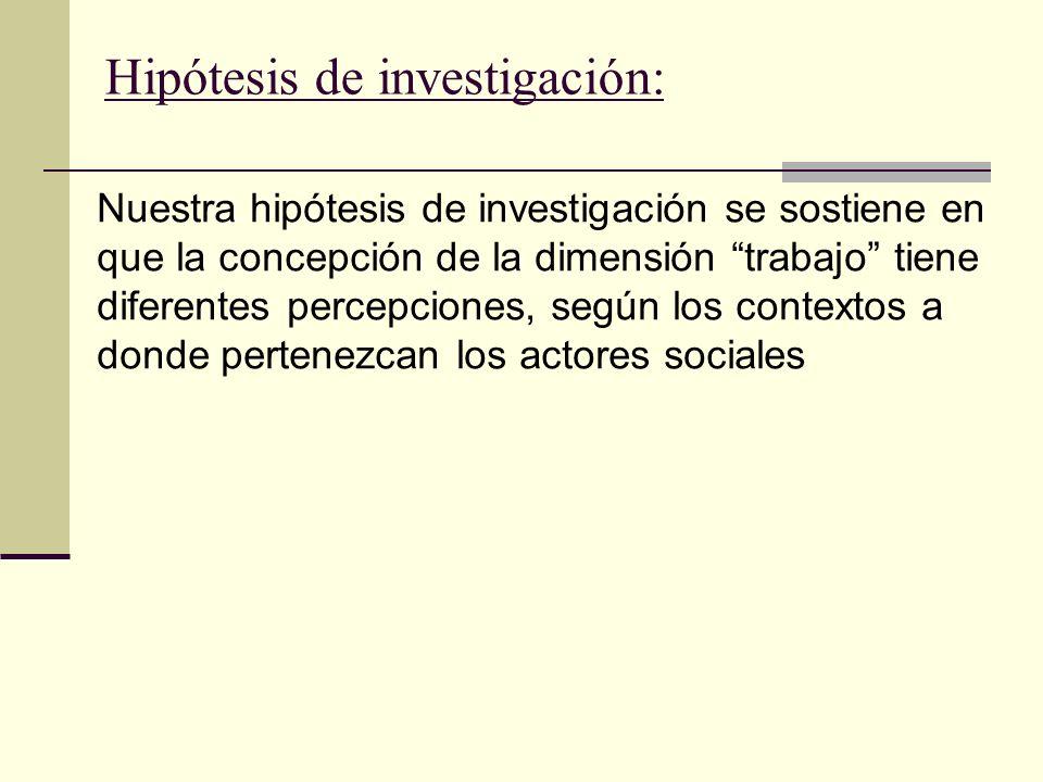 Hipótesis de investigación: Nuestra hipótesis de investigación se sostiene en que la concepción de la dimensión trabajo tiene diferentes percepciones, según los contextos a donde pertenezcan los actores sociales