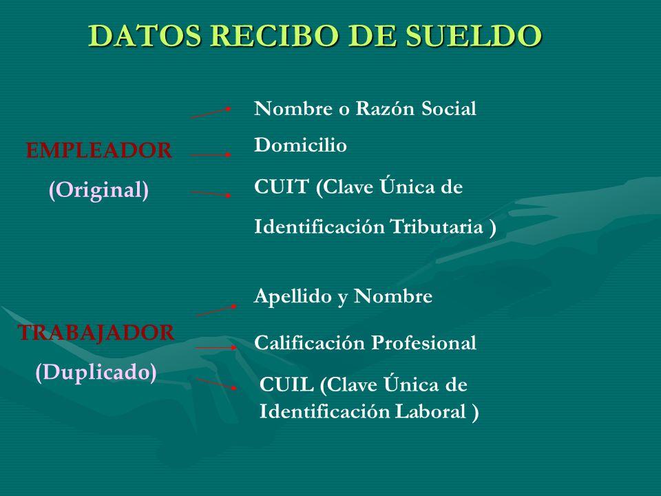 DATOS RECIBO DE SUELDO EMPLEADOR (Original) TRABAJADOR (Duplicado) Nombre o Razón Social Domicilio CUIT (Clave Única de Identificación Tributaria ) Ap