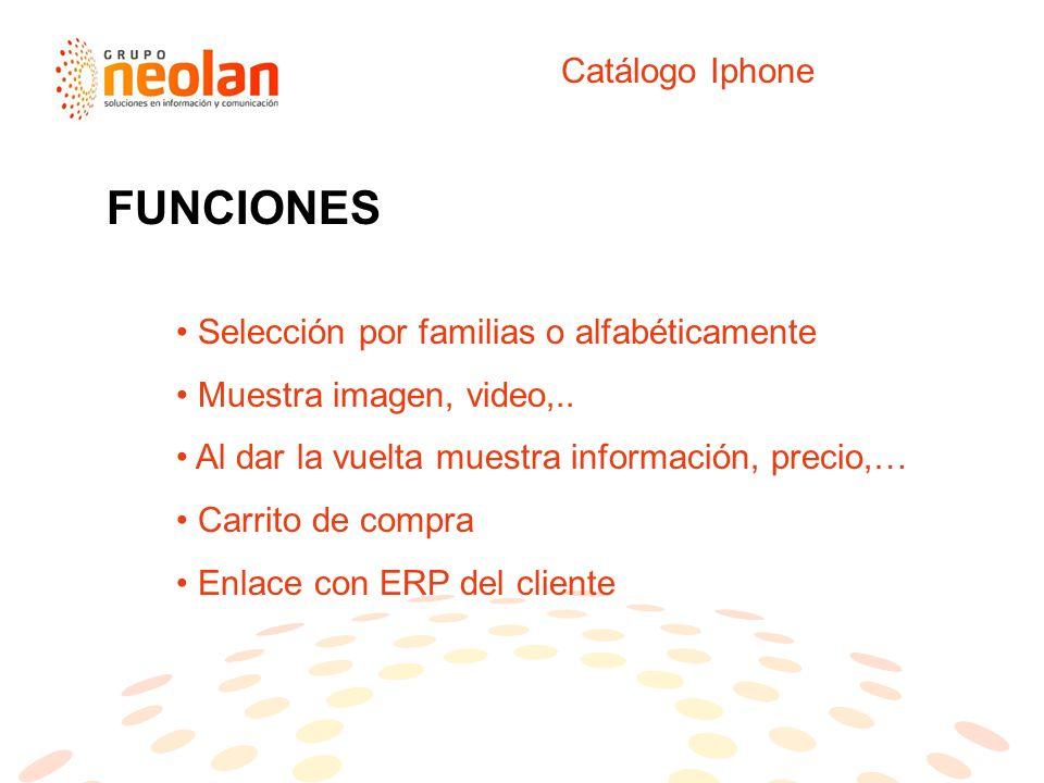 Catálogo Iphone Selección por familias o alfabéticamente Muestra imagen, video,..