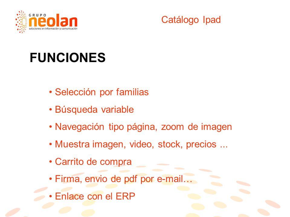 Catálogo Ipad Selección por familias Búsqueda variable Navegación tipo página, zoom de imagen Muestra imagen, video, stock, precios...