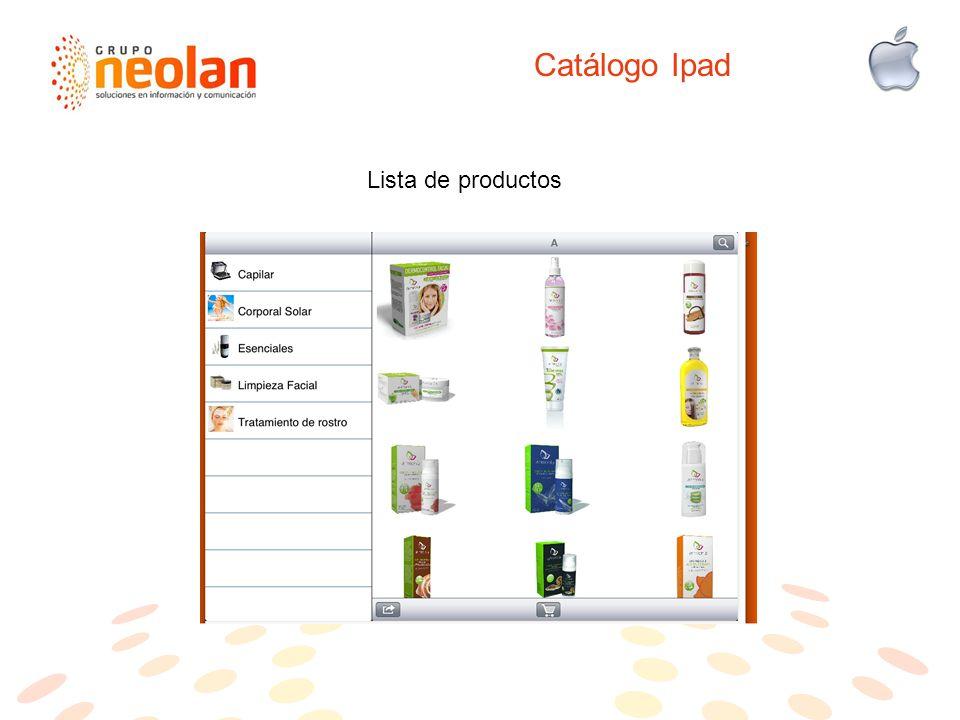 Catálogo Ipad Lista de productos