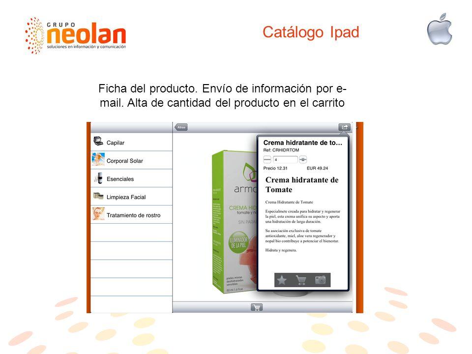 Catálogo Ipad Ficha del producto.Envío de información por e- mail.