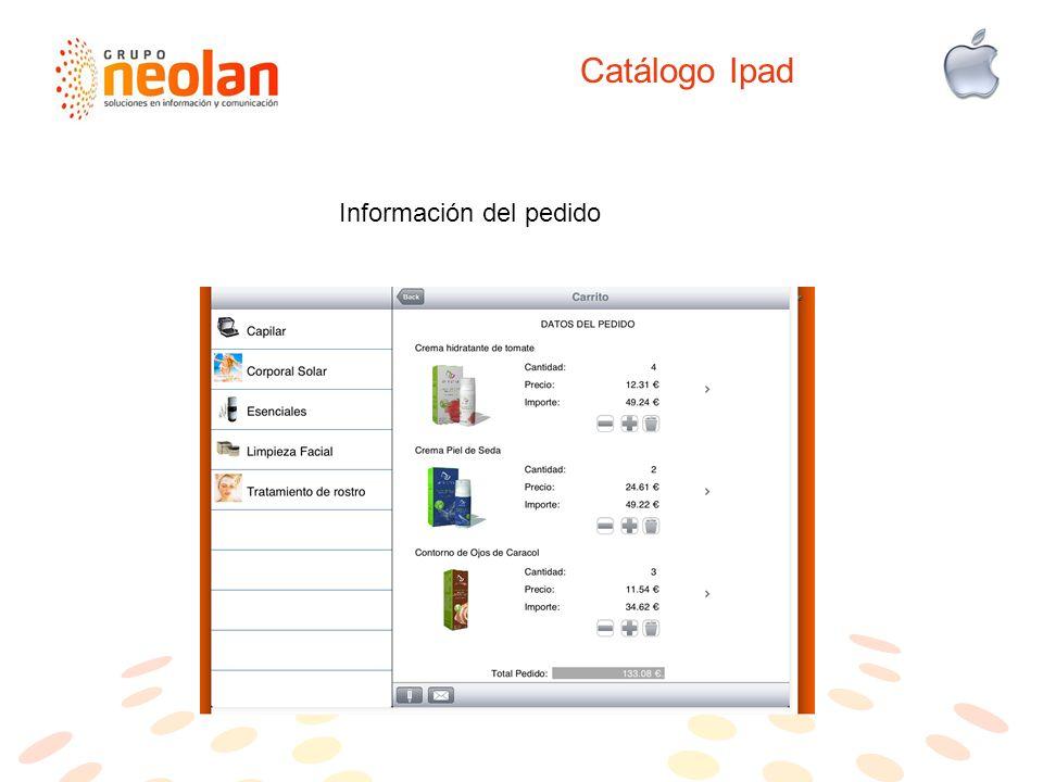 Catálogo Ipad Información del pedido