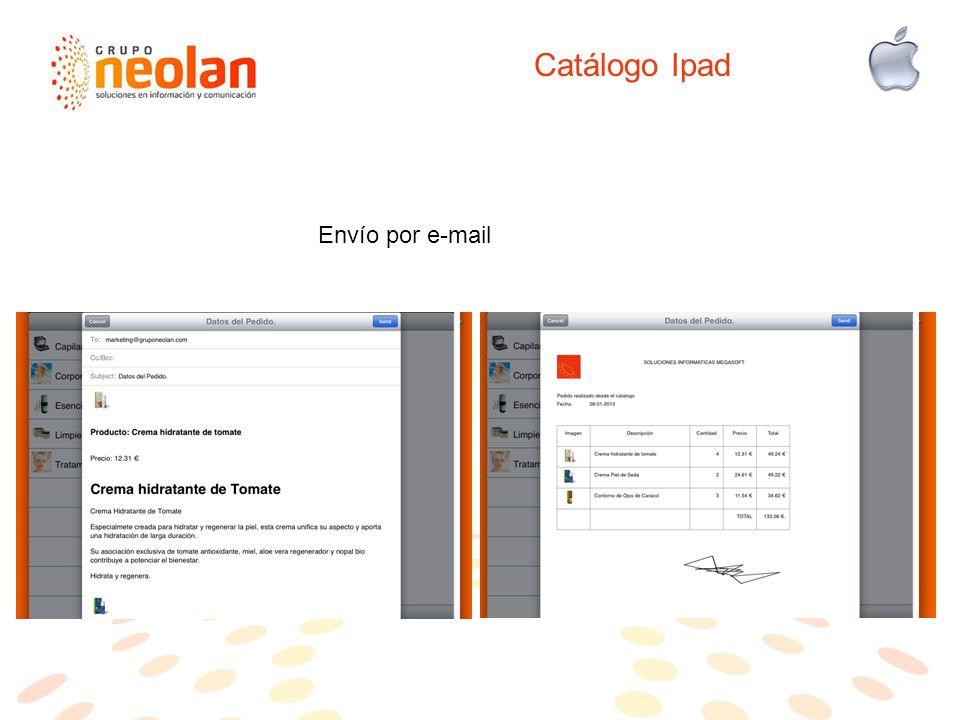 Catálogo Ipad Envío por e-mail