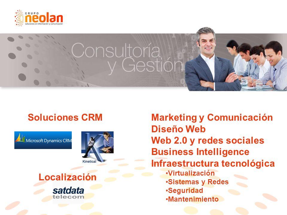 Soluciones CRMMarketing y Comunicación Diseño Web Web 2.0 y redes sociales Business Intelligence Infraestructura tecnológica Virtualización Sistemas y Redes Seguridad Mantenimiento Localización