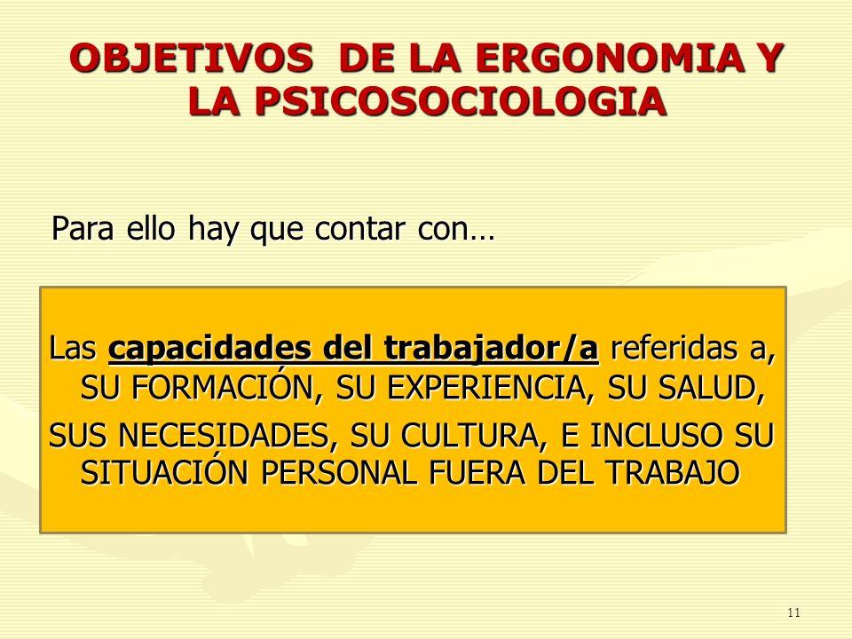 OBJETIVOS DE LA ERGONOMIA Y LA PSICOSOCIOLOGIA Para ello hay que contar con… 11 Las capacidades del trabajador/a referidas a, SU FORMACIÓN, SU EXPERIE