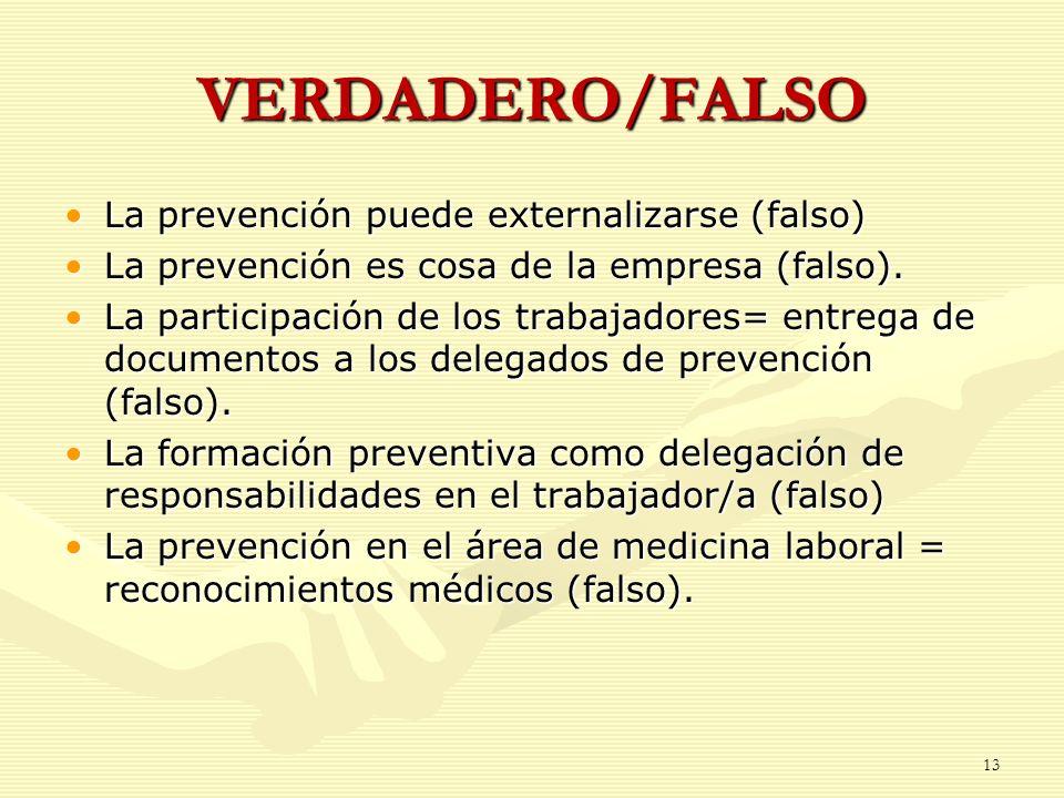 VERDADERO/FALSO La prevención puede externalizarse (falso)La prevención puede externalizarse (falso) La prevención es cosa de la empresa (falso).La pr