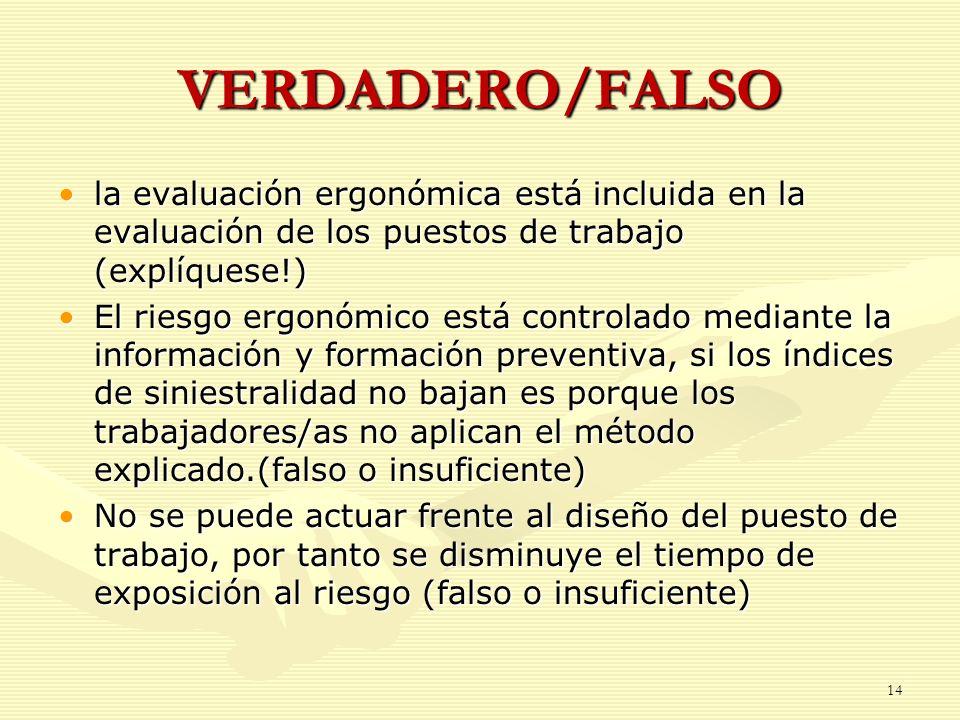 VERDADERO/FALSO la evaluación ergonómica está incluida en la evaluación de los puestos de trabajo (explíquese!)la evaluación ergonómica está incluida