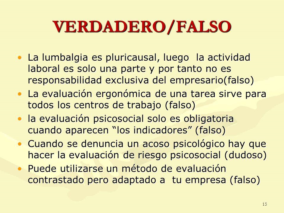 VERDADERO/FALSO La lumbalgia es pluricausal, luego la actividad laboral es solo una parte y por tanto no es responsabilidad exclusiva del empresario(f