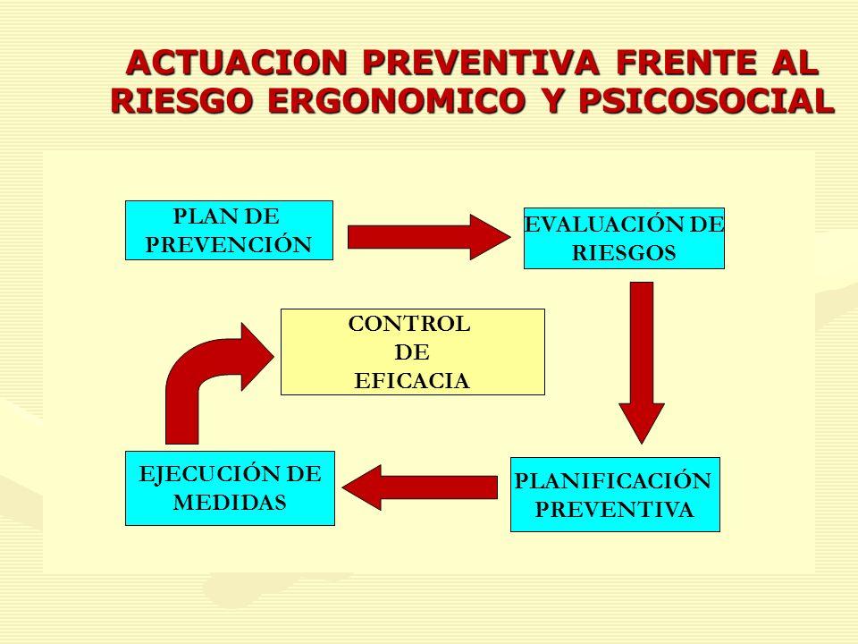 ACTUACION PREVENTIVA FRENTE AL RIESGO ERGONOMICO Y PSICOSOCIAL PLAN DE PREVENCIÓN EVALUACIÓN DE RIESGOS PLANIFICACIÓN PREVENTIVA EJECUCIÓN DE MEDIDAS