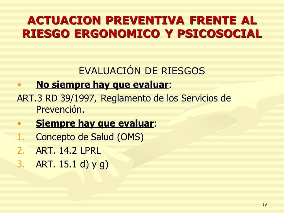 ACTUACION PREVENTIVA FRENTE AL RIESGO ERGONOMICO Y PSICOSOCIAL 19 EVALUACIÓN DE RIESGOS No siempre hay que evaluar:No siempre hay que evaluar: ART.3 R