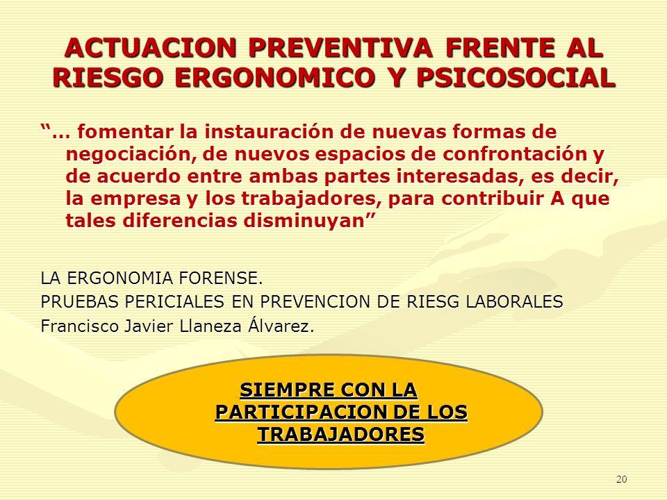ACTUACION PREVENTIVA FRENTE AL RIESGO ERGONOMICO Y PSICOSOCIAL … fomentar la instauración de nuevas formas de negociación, de nuevos espacios de confr