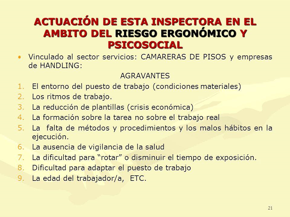 ACTUACIÓN DE ESTA INSPECTORA EN EL AMBITO DEL RIESGO ERGONÓMICO Y PSICOSOCIAL Vinculado al sector servicios: CAMARERAS DE PISOS y empresas de HANDLING