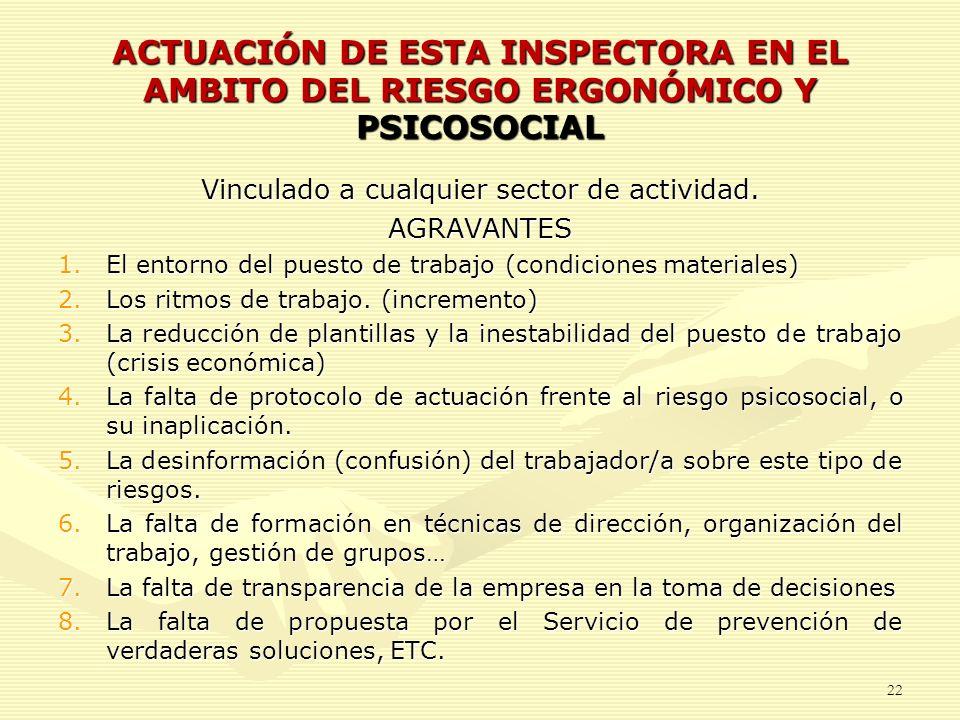 ACTUACIÓN DE ESTA INSPECTORA EN EL AMBITO DEL RIESGO ERGONÓMICO Y PSICOSOCIAL Vinculado a cualquier sector de actividad. AGRAVANTES 1.El entorno del p