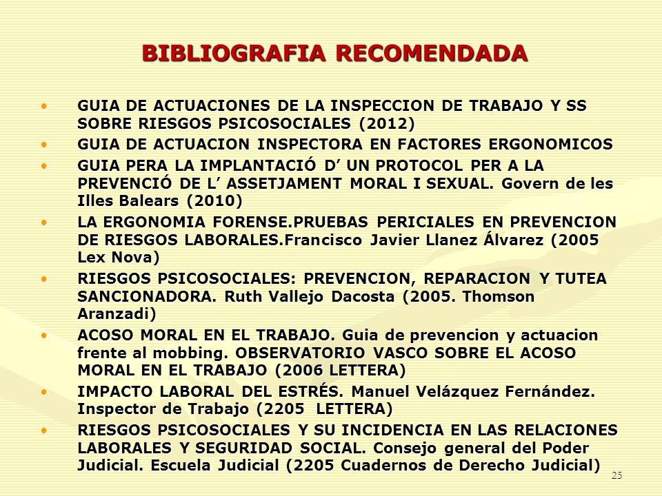 BIBLIOGRAFIA RECOMENDADA GUIA DE ACTUACIONES DE LA INSPECCION DE TRABAJO Y SS SOBRE RIESGOS PSICOSOCIALES (2012)GUIA DE ACTUACIONES DE LA INSPECCION D