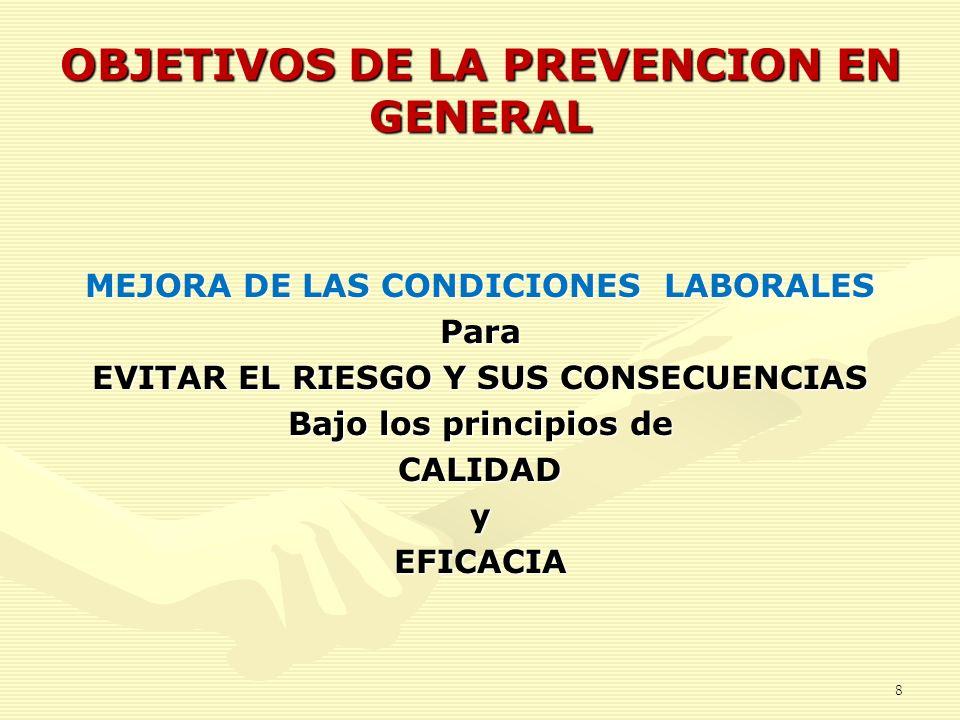 OBJETIVOS DE LA PREVENCION EN GENERAL MEJORA DE LAS CONDICIONES LABORALES Para EVITAR EL RIESGO Y SUS CONSECUENCIAS Bajo los principios de CALIDADyEFI