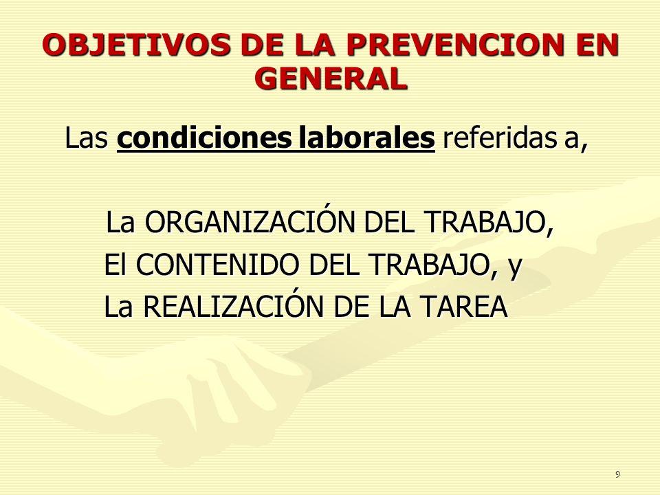 OBJETIVOS DE LA PREVENCION EN GENERAL Las condiciones laborales referidas a, La ORGANIZACIÓN DEL TRABAJO, El CONTENIDO DEL TRABAJO, y El CONTENIDO DEL