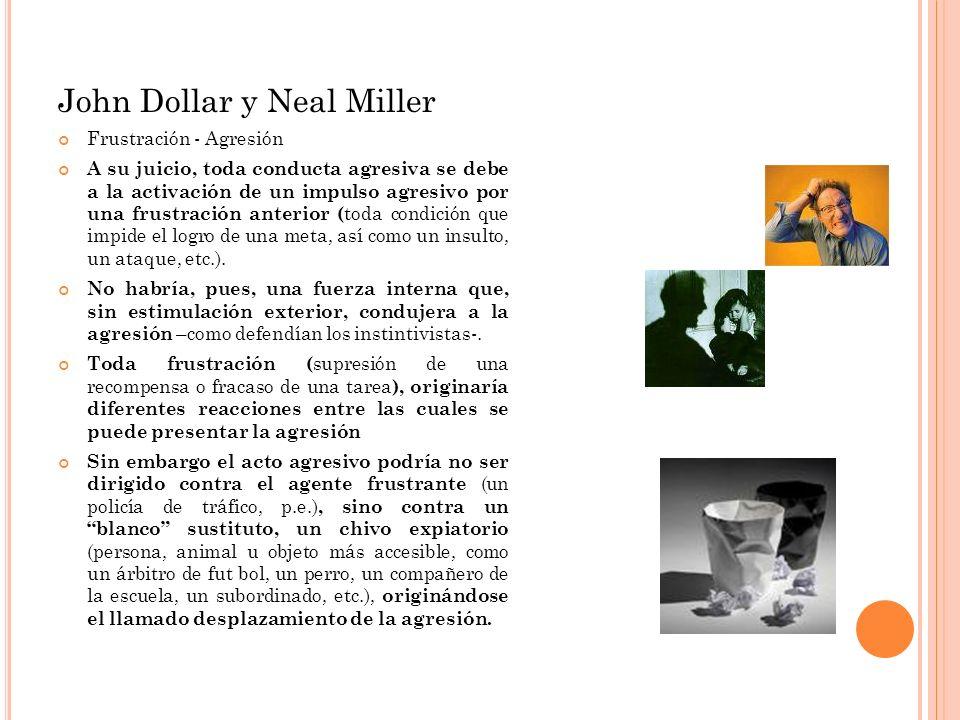 John Dollar y Neal Miller Frustración - Agresión A su juicio, toda conducta agresiva se debe a la activación de un impulso agresivo por una frustració