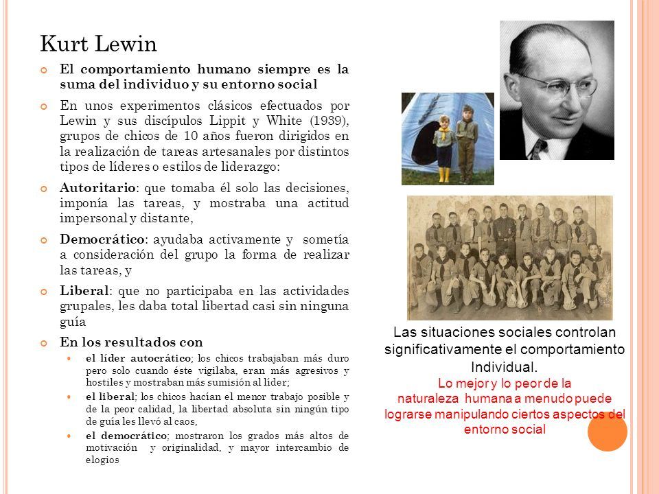 Kurt Lewin El comportamiento humano siempre es la suma del individuo y su entorno social En unos experimentos clásicos efectuados por Lewin y sus disc