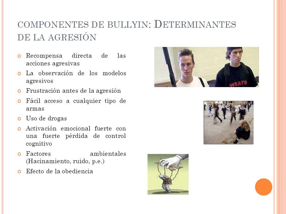 Recompensa directa de las acciones agresivas La observación de los modelos agresivos Frustración antes de la agresión Fácil acceso a cualquier tipo de