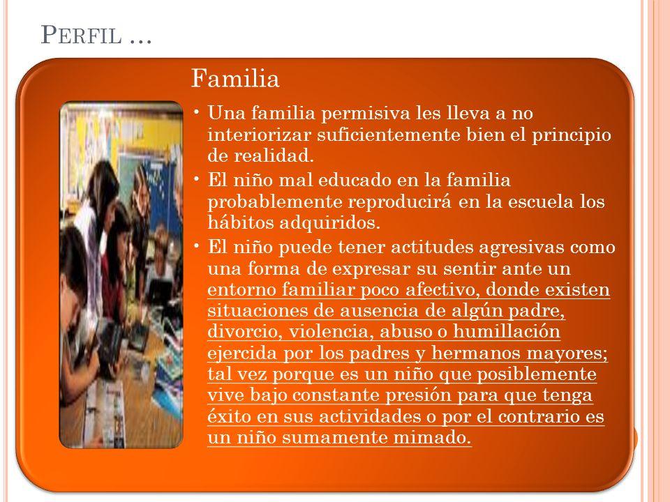 Familia Una familia permisiva les lleva a no interiorizar suficientemente bien el principio de realidad. El niño mal educado en la familia probablemen