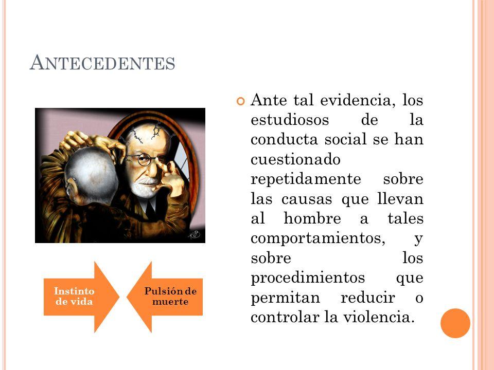 A NTECEDENTES Sigmund Freud (Pulsión instintiva de vida y de muerte) Lorenz (Instinto Agresivo) Dollard y Miller (Frustración-Agresión) Bandura (Aprendizaje por modelos: por observación, recompensa vicaria) Milgram (El efecto de la Obediencia) Lewin (El comportamiento humano es el individuo y su entorno social)