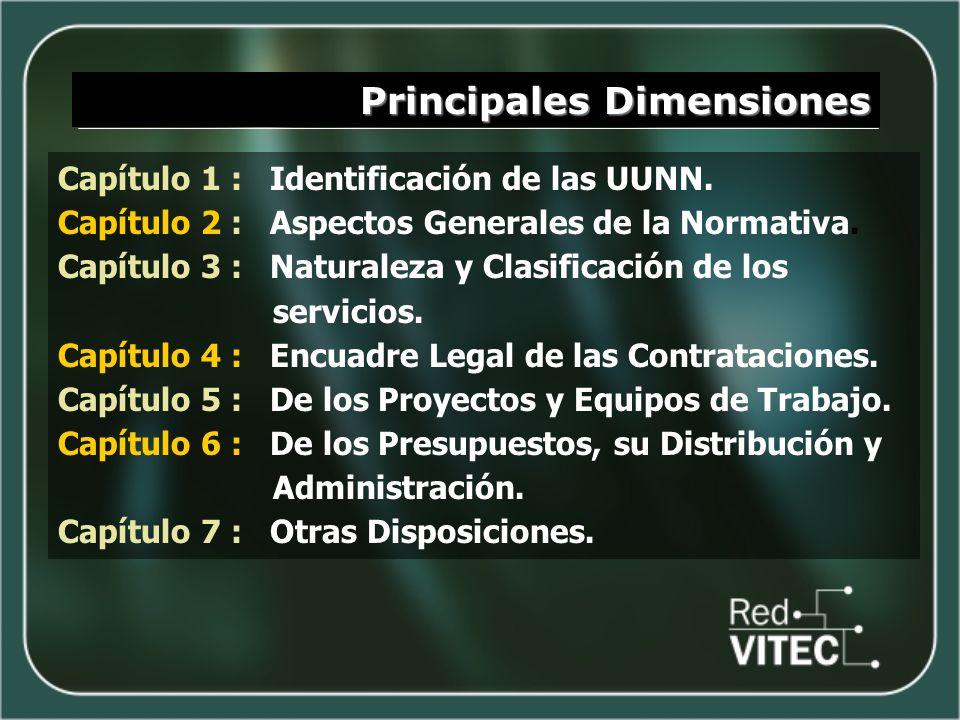 Principales Dimensiones Capítulo 1 : Identificación de las UUNN. Capítulo 2 : Aspectos Generales de la Normativa. Capítulo 3 : Naturaleza y Clasificac