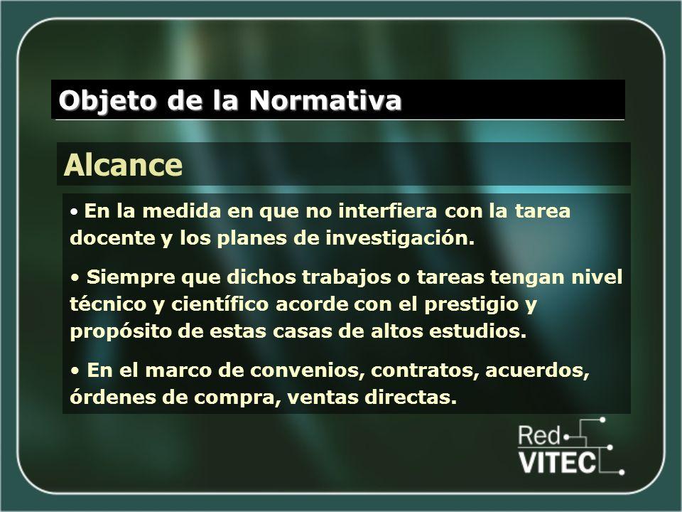 Objeto de la Normativa Alcance En la medida en que no interfiera con la tarea docente y los planes de investigación.