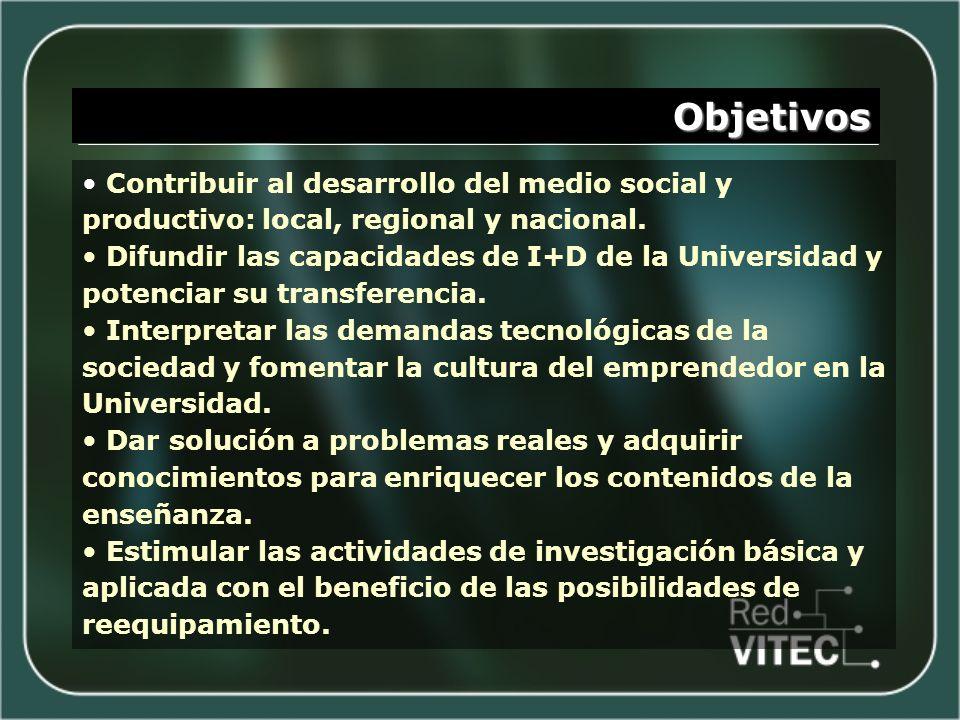 Objetivos Contribuir al desarrollo del medio social y productivo: local, regional y nacional. Difundir las capacidades de I+D de la Universidad y pote