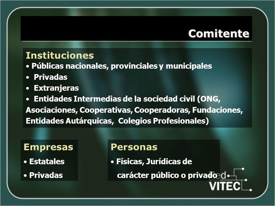 Comitente Instituciones Públicas nacionales, provinciales y municipales Privadas Extranjeras Entidades Intermedias de la sociedad civil (ONG, Asociaci