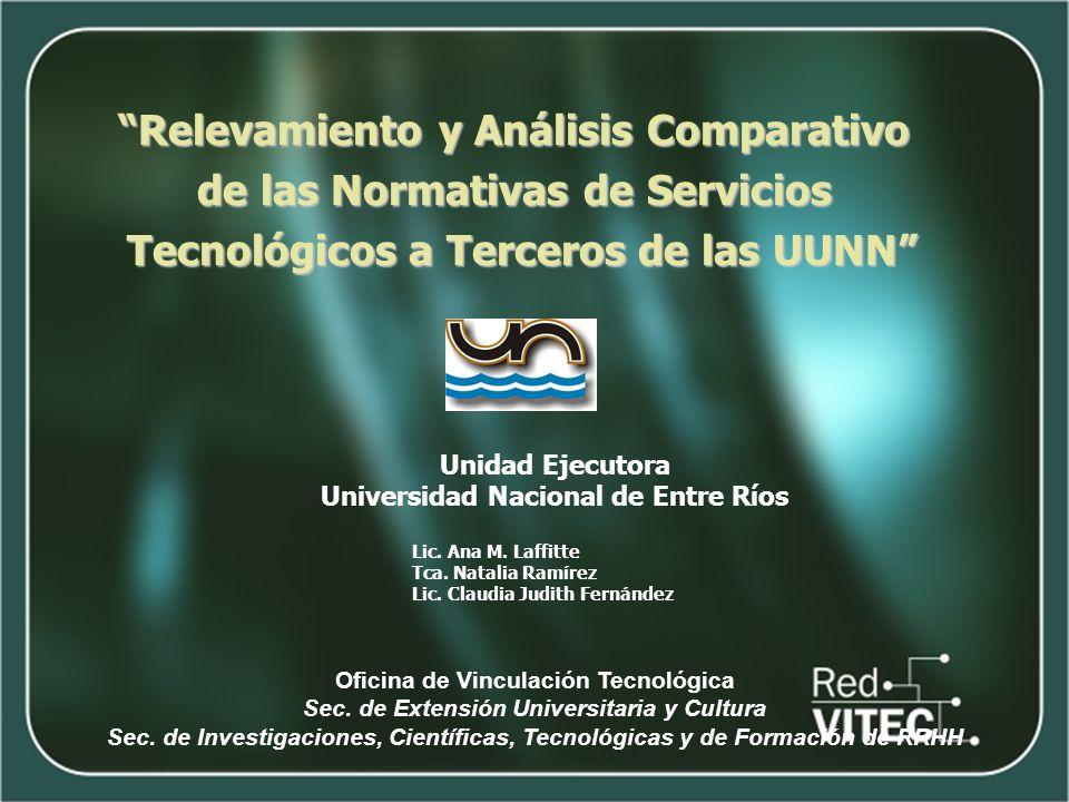 Unidad Ejecutora Universidad Nacional de Entre Ríos Oficina de Vinculación Tecnológica Sec. de Extensión Universitaria y Cultura Sec. de Investigacion