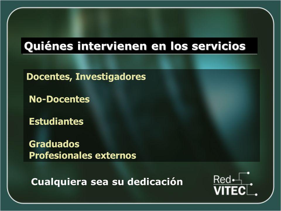Quiénes intervienen en los servicios Docentes, Investigadores No-Docentes Estudiantes Graduados Profesionales externos Cualquiera sea su dedicación