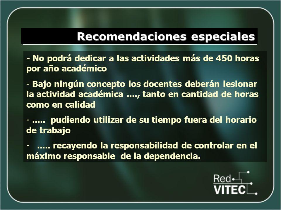 Recomendaciones especiales - No podrá dedicar a las actividades más de 450 horas por año académico - Bajo ningún concepto los docentes deberán lesiona