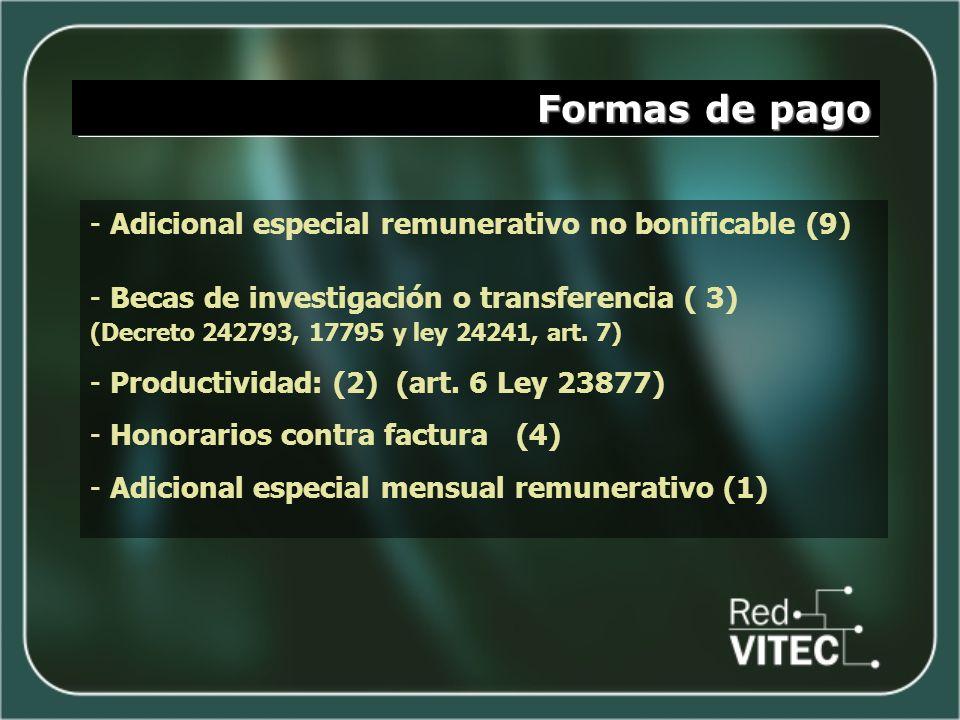 Formas de pago - Adicional especial remunerativo no bonificable (9) - Becas de investigación o transferencia ( 3) (Decreto 242793, 17795 y ley 24241,