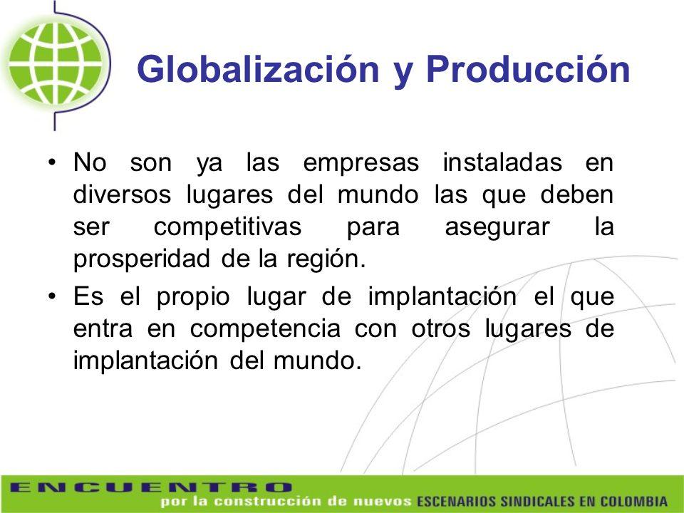 Globalización y Producción No son ya las empresas instaladas en diversos lugares del mundo las que deben ser competitivas para asegurar la prosperidad