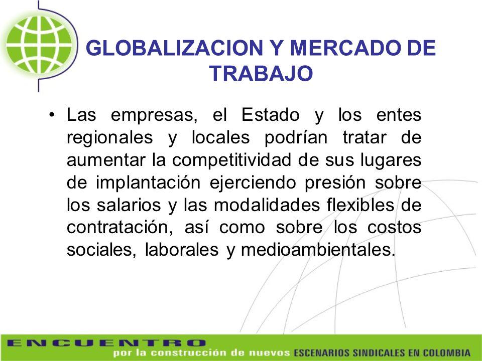 GLOBALIZACION Y MERCADO DE TRABAJO Las empresas, el Estado y los entes regionales y locales podrían tratar de aumentar la competitividad de sus lugare