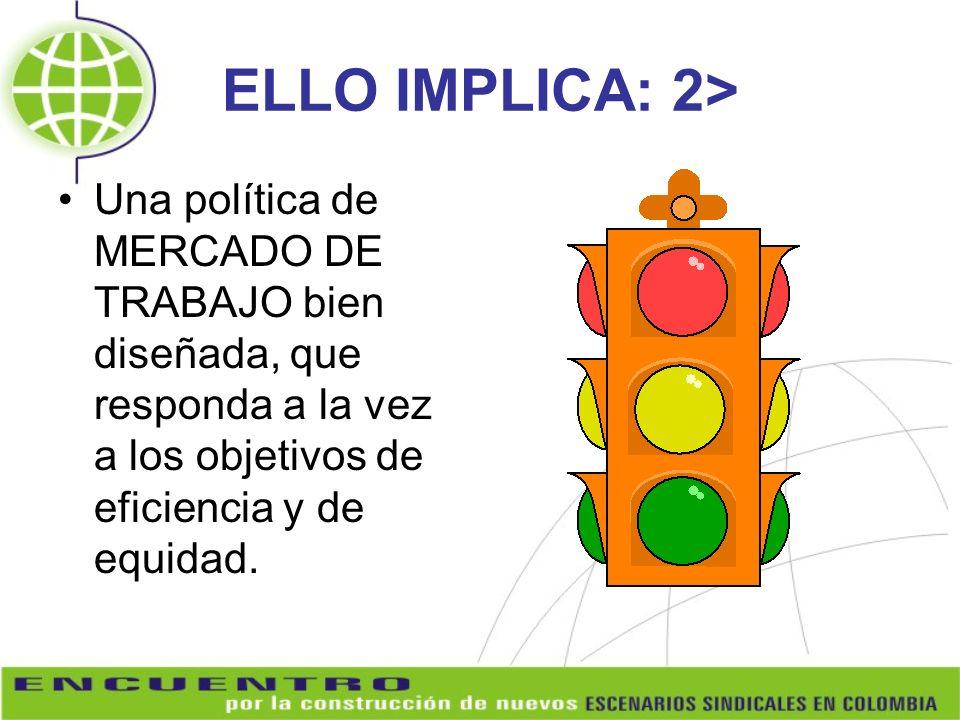 ELLO IMPLICA: 2> Una política de MERCADO DE TRABAJO bien diseñada, que responda a la vez a los objetivos de eficiencia y de equidad.