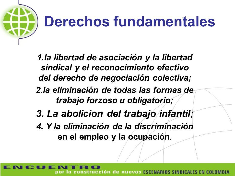 Derechos fundamentales 1.la libertad de asociación y la libertad sindical y el reconocimiento efectivo del derecho de negociación colectiva; 2.la elim