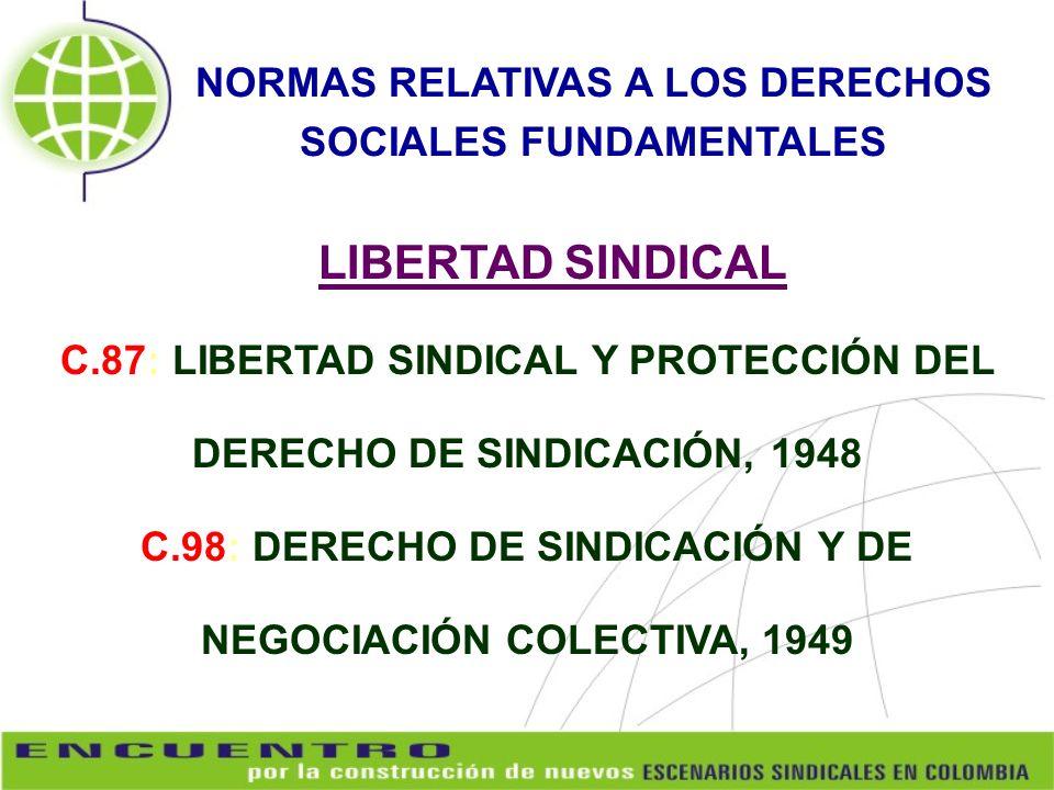C.87: LIBERTAD SINDICAL Y PROTECCIÓN DEL DERECHO DE SINDICACIÓN, 1948 C.98: DERECHO DE SINDICACIÓN Y DE NEGOCIACIÓN COLECTIVA, 1949 NORMAS RELATIVAS A
