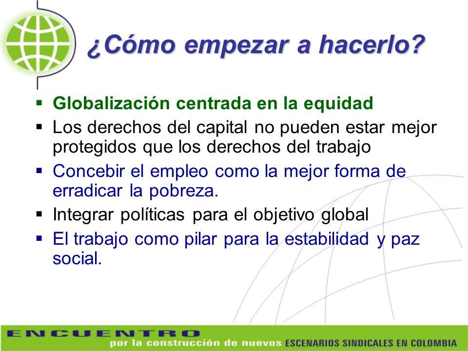 ¿Cómo empezar a hacerlo? Globalización centrada en la equidad Los derechos del capital no pueden estar mejor protegidos que los derechos del trabajo C