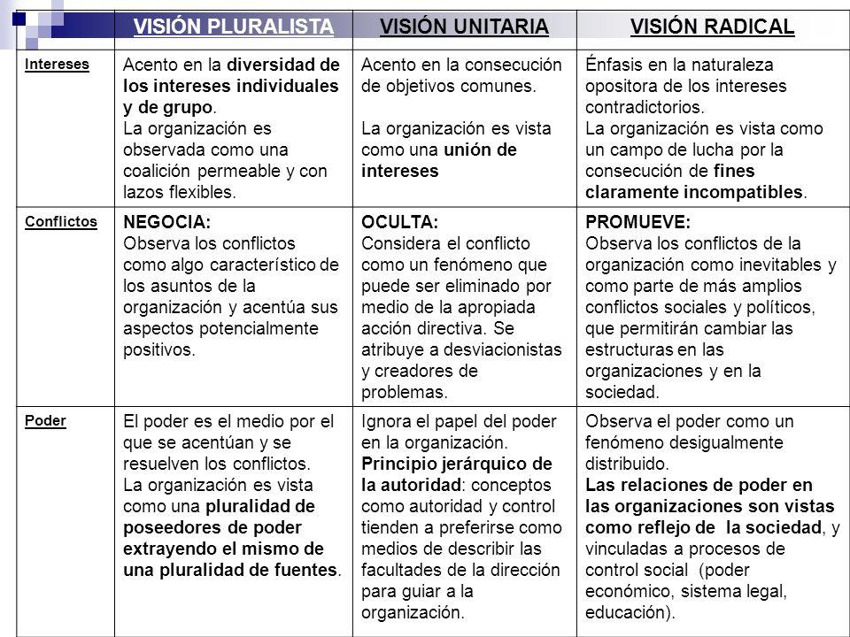 VISIÓN PLURALISTAVISIÓN UNITARIAVISIÓN RADICAL Intereses Acento en la diversidad de los intereses individuales y de grupo. La organización es observad