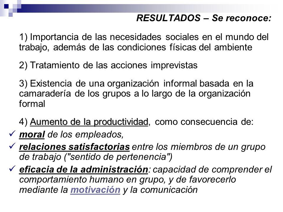 RESULTADOS – Se reconoce: 1) Importancia de las necesidades sociales en el mundo del trabajo, además de las condiciones físicas del ambiente 2) Tratam