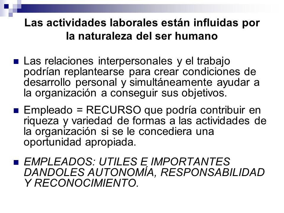 Las actividades laborales están influidas por la naturaleza del ser humano Las relaciones interpersonales y el trabajo podrían replantearse para crear