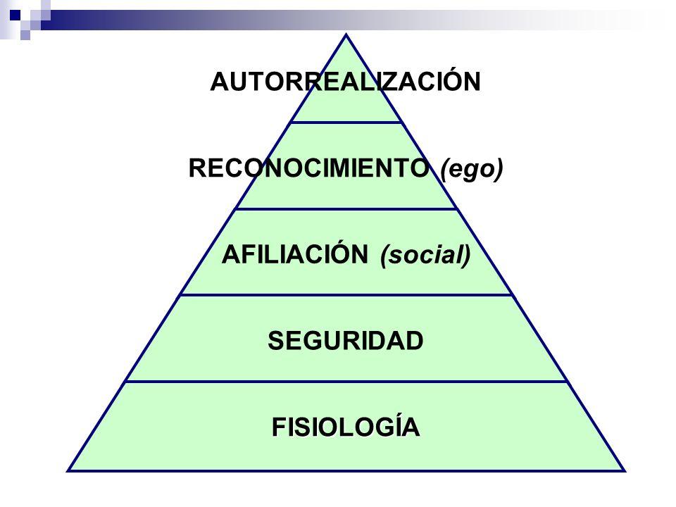 AUTORREALIZACIÓN RECONOCIMIENTO (ego) AFILIACIÓN (social) SEGURIDAD FISIOLOGÍA