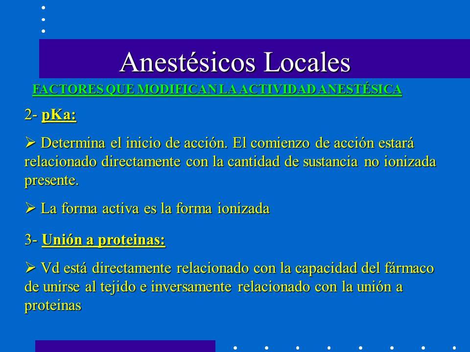Anestésicos Locales FACTORES QUE MODIFICAN LA ACTIVIDAD ANESTÉSICA 2- pKa: Determina el inicio de acción.