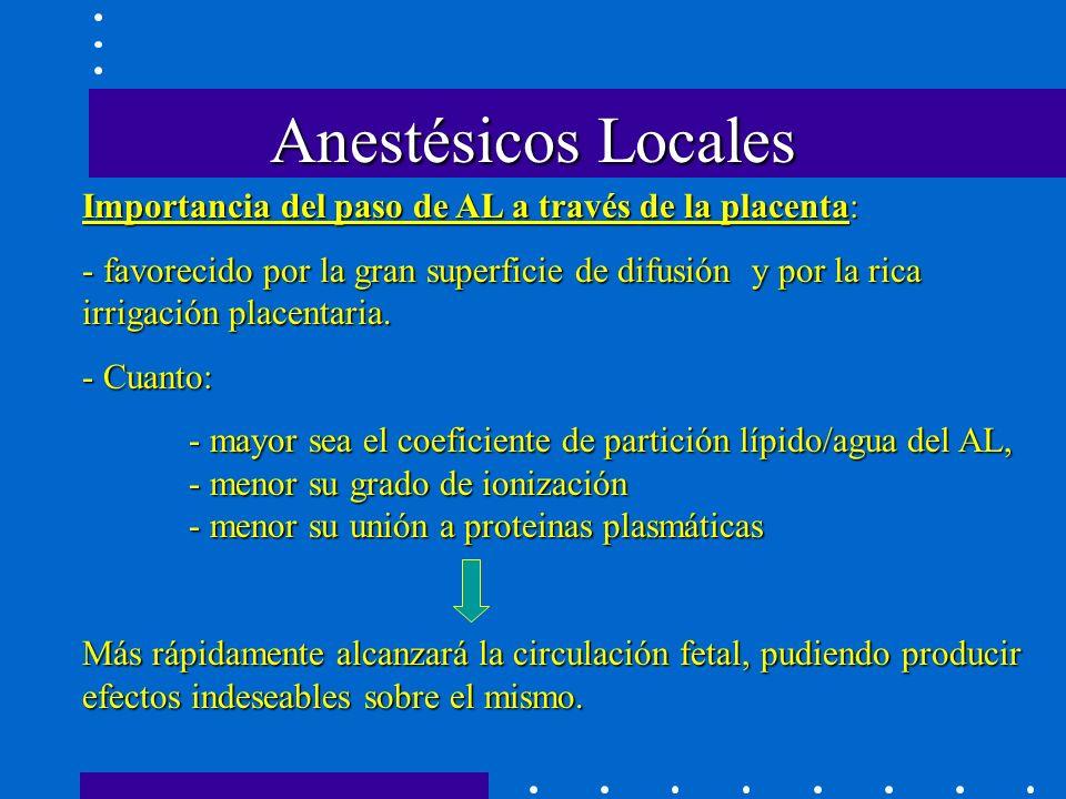 Anestésicos Locales Importancia del paso de AL a través de la placenta: - favorecido por la gran superficie de difusión y por la rica irrigación placentaria.