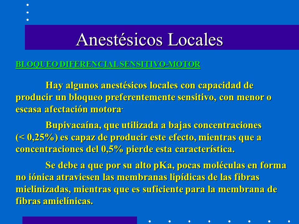 Hay algunos anestésicos locales con capacidad de producir un bloqueo preferentemente sensitivo, con menor o escasa afectación motora.