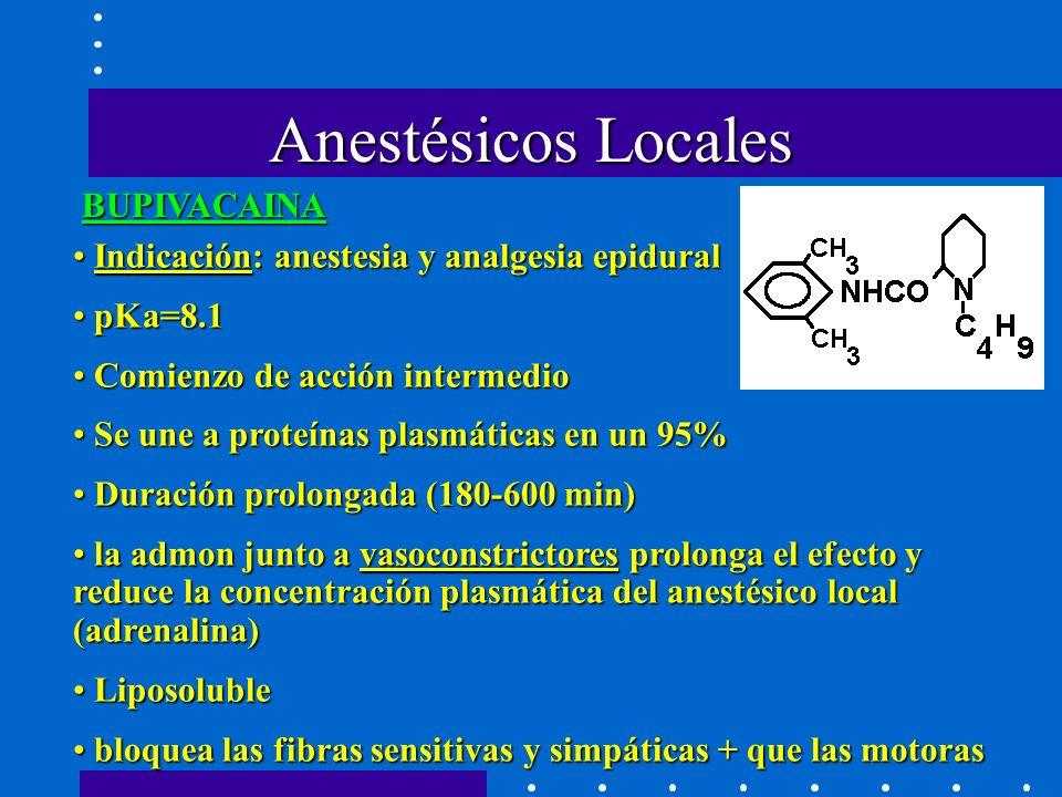 BUPIVACAINA Indicación: anestesia y analgesia epidural Indicación: anestesia y analgesia epidural pKa=8.1 pKa=8.1 Comienzo de acción intermedio Comienzo de acción intermedio Se une a proteínas plasmáticas en un 95% Se une a proteínas plasmáticas en un 95% Duración prolongada (180-600 min) Duración prolongada (180-600 min) la admon junto a vasoconstrictores prolonga el efecto y reduce la concentración plasmática del anestésico local (adrenalina) la admon junto a vasoconstrictores prolonga el efecto y reduce la concentración plasmática del anestésico local (adrenalina) Liposoluble Liposoluble bloquea las fibras sensitivas y simpáticas + que las motoras bloquea las fibras sensitivas y simpáticas + que las motoras