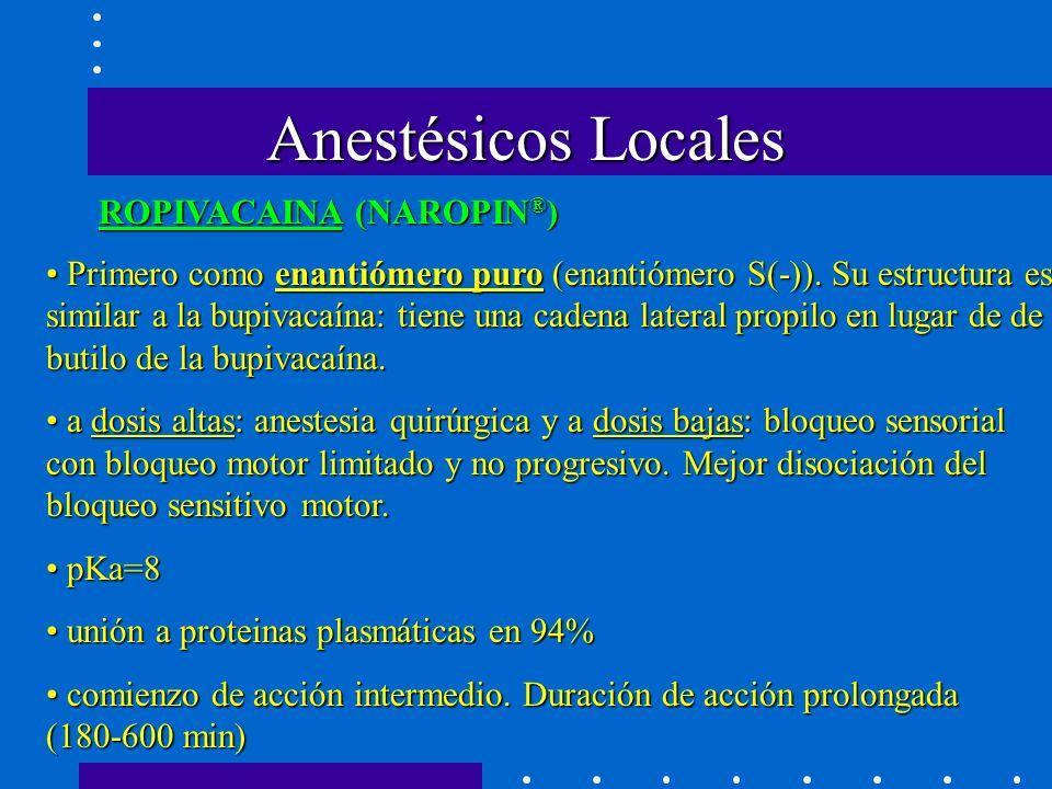 Anestésicos Locales Primero como enantiómero puro (enantiómero S(-)).